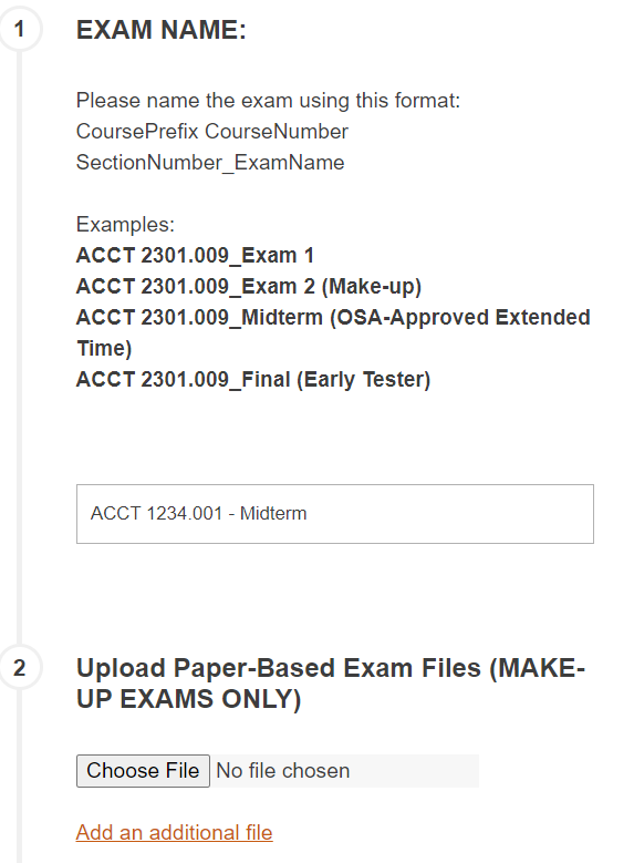 The RegisterBlast Exam Name and Upload Files form fields.