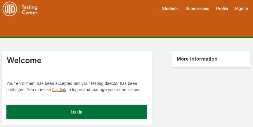 Enrollment confirmation message.