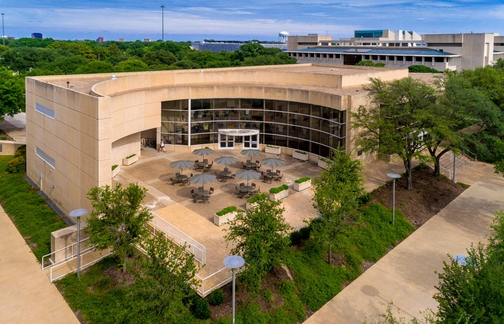 Aerial photograph of the Cecil and Ida Green Center.